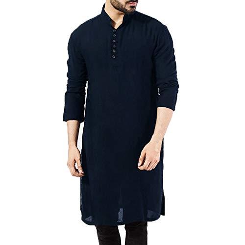 GaoYunQin Hombre camisón Árabe de Los Hombres Musulmán Camisas de Pijama con Mangas Largas Vestido Liso Claro Vestimenta Casual Camisones Pijama (Color : Blue, Size : Small)