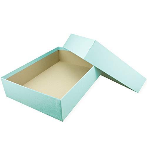 Hochwertige Aufbewahrungs- und Geschenkboxen - 1 Stück - DIN A4 - Hellblau (Blau) bezogen - 302 x 213 x 70 mm