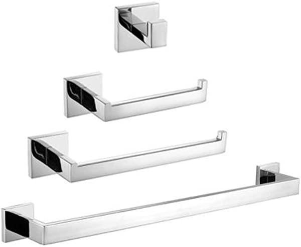 LightInTheBox 4PC Towel Bar Sets 304 Stainless Steel Bathroom Accessory Sets Robe Hooks Towel Rack Toilet Paper Holder Towel Bar