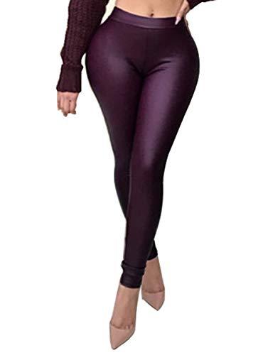 Dames modieuze skinny broek leer effen imitatie waterdicht stretch lange modieuze completi broek leggings lederen broek