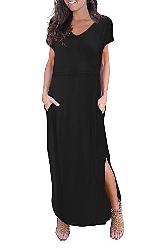Smallshow Women's Maternity Nursing Dresses Split Long Dress for Breastfeeding Medium Black