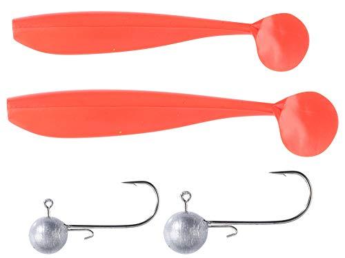 Balzer Shirasu Dorsch Gummi Set - 2 Gummifische + 2 Jighaken zum Meeresangeln auf Dorsche & Seelachse, Gummiköder, Dorschköder, Farbe:Orange