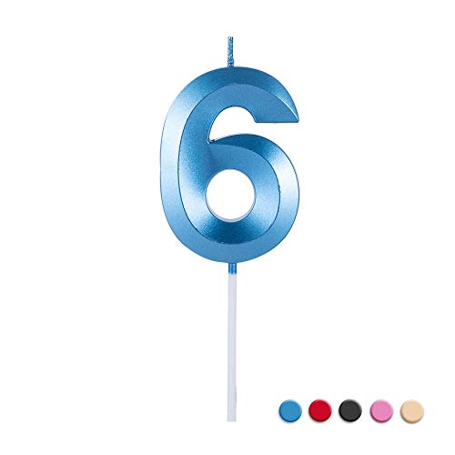 Birthday Candles Extended Big Number Candle Multicolor 3D Design Cake Topper Decoration for Any Celebration(6 Candle Blue)