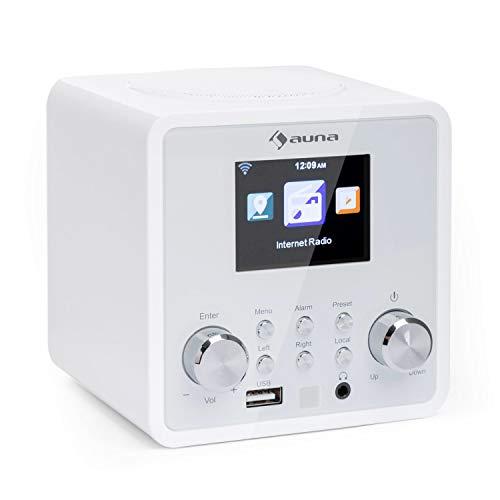 Auna IR-120 - Radio de Internet, Reproductor MP3, WMA, Acc, Internet Wi-Fi, Conexión USB y AUX, Alarma, Autoapagado, 15000 emisoras, Mando a Distancia, Blanco Fantasma