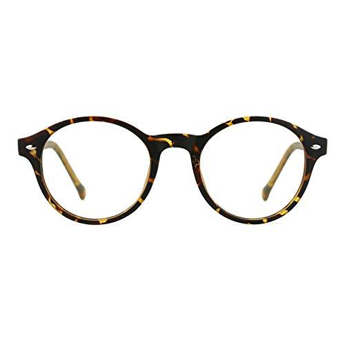TIJN Klassische Runde Nerd Brille Optik Computerbrille Blaulichtfilter Brille Ohne Stärke Brillenfassung für Damen Herren