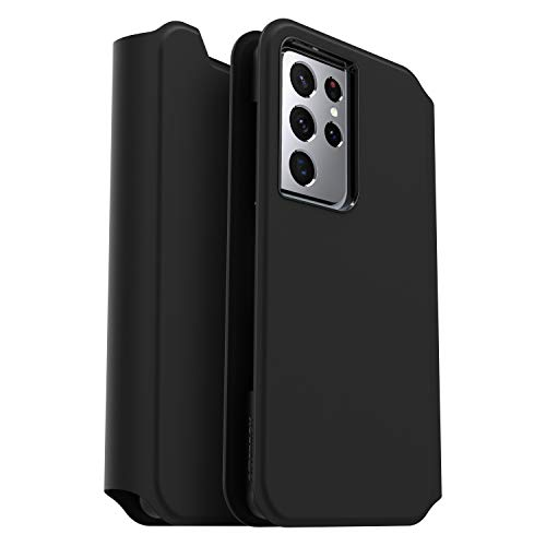 OtterBox Strada Via Series Case for Samsung Galaxy S21 Ultra 5G, Sleek, Soft Touch Protective Folio - Black