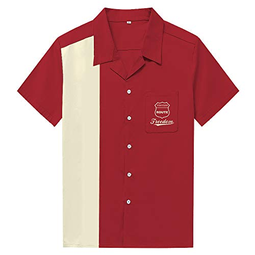 Candow Look Vintage Turndown Collar Patchwork Men Shirts Button Chemise
