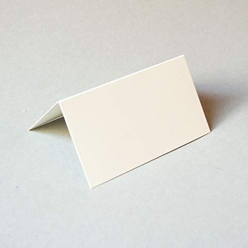 100 altweiße Blanko-Tischkarten, 6 x 11 cm (stabiler schicker Karton, Munken Pure 300 g/qm), Klappkärtchen zum Aufstellen, elegante Tischdeko