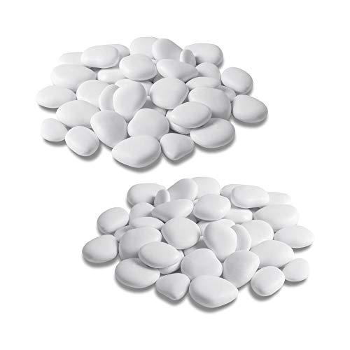 Teraplast Sassi Decorativi in plastica Riciclata Confezione Piccola da 2 Pezzi (Bianco - 2 x Small)