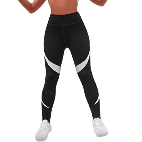 WOZOW Damen Leggings Solid Patchwork Gestreift Streifen Muster Yoga Kurze Hosen Stretch Skinny Slim Sporthosen High Waist Laufhose Lang Pants (S,Schwarz)