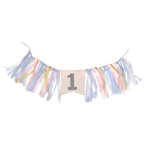 BESTOYARD Blue Pink High Chair Bunting Banner First Birthday Banner Tutu Skirt Decoration Birthday Party Decorations for Photo Booth Props Birthday Party Supplies