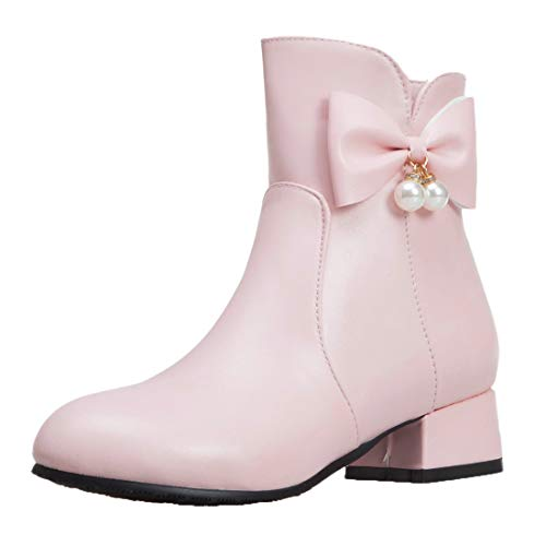 Adorose Damen Reissverschluss Stiefeletten mit Flach Ankle Boots Schleife Rockabilly Runde Zehen Flat Schuhe(Rosa,40)