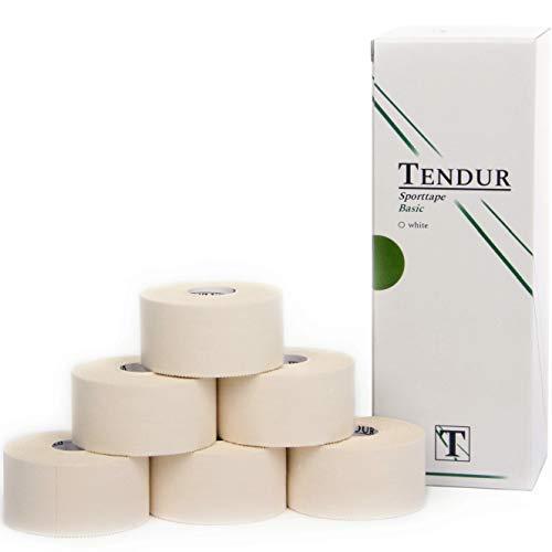 TENDUR Sporttape Basic - 6 Rollen 3,8cm x 13,7m weiß - Professioneller Sport-Tapeverband mit Zinkoxid-Kleber für Physiotherapie, Orthopädie & Sportvereine