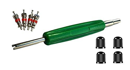 Kit de herramientas de extracción de núcleo de válvula de neumático, 4 tapas, 4 núcleos y llave para coche, furgoneta, motocicleta, bicicleta