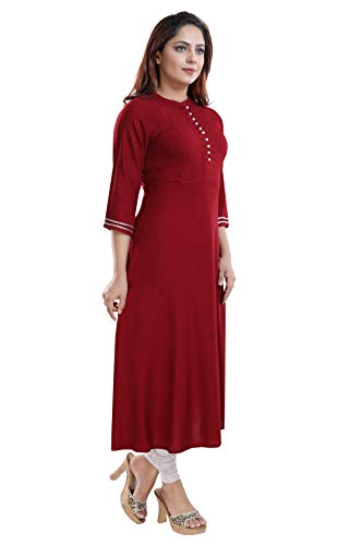 TIGYWIGY Women's Cotton Maternity Kurta/Easy Breast Feeding/Breastfeeding Kurti/Western Dress with Zippers for Nursing Pre and Post Pregnancy (Maroon1, Large)