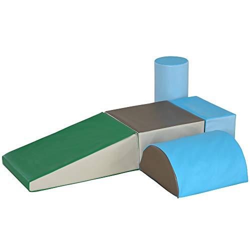 HOMCOM Bausteinset 5er-Set Schaumstoff Bausteine Bauklötze Bauspielzeug Schaumstoffblöcke für 1-3 Jahre alt Kinder Kunstleder EPE