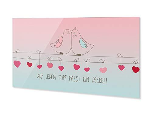 GRAZDesign Glas Küchenrückwand, Spritzschutz Küche Verliebte Vögel mit Spruch rosa, türkis, Nischenrückwand Herd Wand, Rückwand aus ESG Glas / 60x60cm