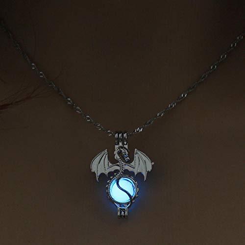Anoauit Vintage Dragon Resplandor en los Collares Oscuros Mujeres Luminoso Piedra Colgante Collares Collares Plateados Collar Joyería para Hombres Cielo Azul