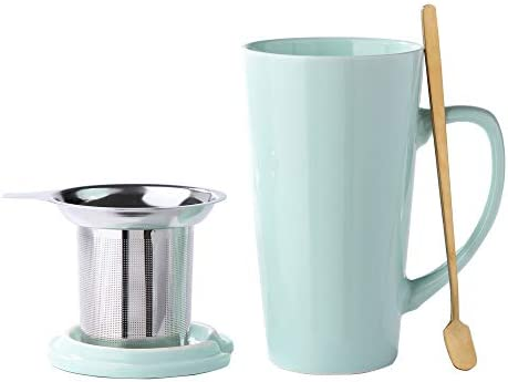 SPSCO Porcelain Tea Mug with Infuser and Lid 16 OZ Large Tea Cup with Filter Spoon Loose Leaf product image