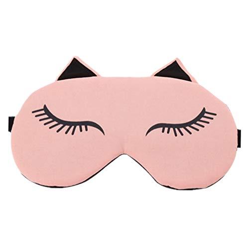 EXCEART Cartoon Augenklappe Neuheit Katze Schlaf Lidschatten Abdeckung Eisbeutel Augenbinde für Heiße Kältetherapie Licht Schattierung Rosa