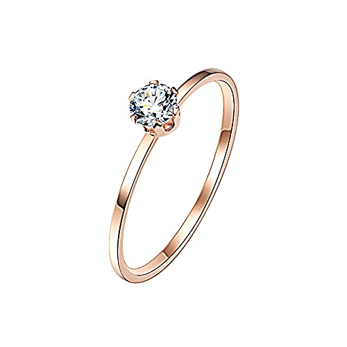 Extraordinary Single Ring Titanium Steel Inlaid, Transparent Black Ring Ladies Jewelry (Main Stone Color : 00000251, Ring Size : 9)