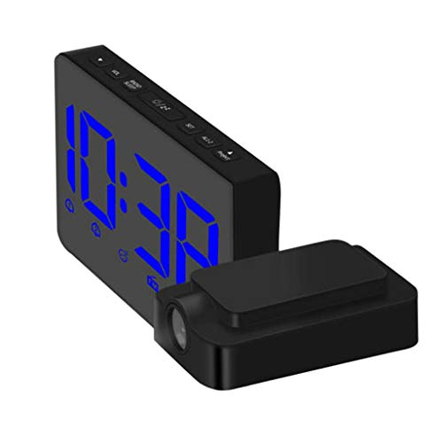 Alarm Clock with AM FM Radio,Projection Clock on Ceiling for Bedroom, Digital Desk/Shelf Clock with Dimmer,Blue