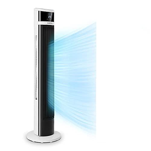 Klarstein Icetower Smart Ventilator, Standventilator, Leistung: 45 Watt, Digitales Display, mit Fernbedienung, 24-Stunden-Timer, 3 Wind-Modi, 100 m³/h, WiFi-Verbindung, Schwarz-Weiss