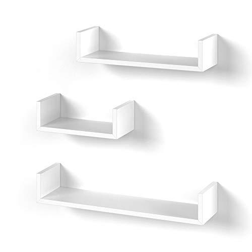 Vicco 3er Set Wandregal Hängeregal Bücherregal Wandboard Trend Regal (Weiß)