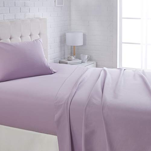 AmazonBasics Lightweight Super Soft Easy Care Microfiber Bed Sheet Set with 16' Deep Pockets - Twin, Frosted Lavender