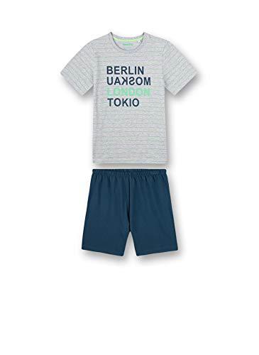 Sanetta Jungen Schlafanzug kurz grau Pyjamaset, hellgrau Melange, 164