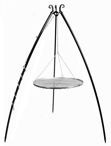 JS GartenDeko Schwenkgrill H 200 cm mit Grillrost Ø 60 cm aus Edelstahl Dreibein Grill Tripod Grillständer CookKing