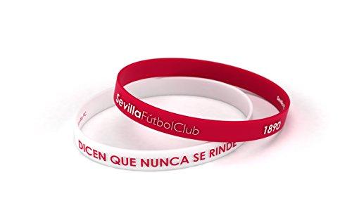 Sevilla Fútbol Club Pulsera Relieve Blanca y Roja Junior para Mujer y Niño   Pulsera Sevillista de Silicona Primera equipación   Apoya al Sevilla con un Producto Oficial   SFC