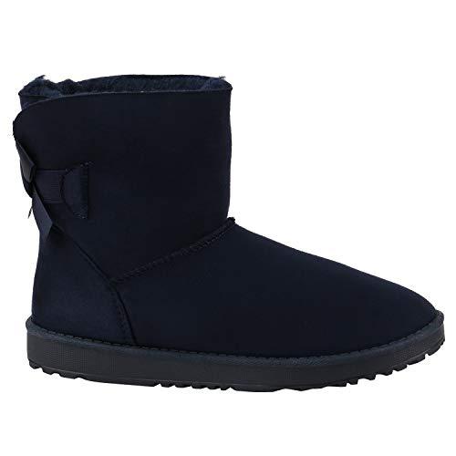 Warm Gefütterte Damen Stiefel Schlupfstiefel Boots Stiefeletten Schuhe 130008 Dunkelblau Schleife 36 Flandell