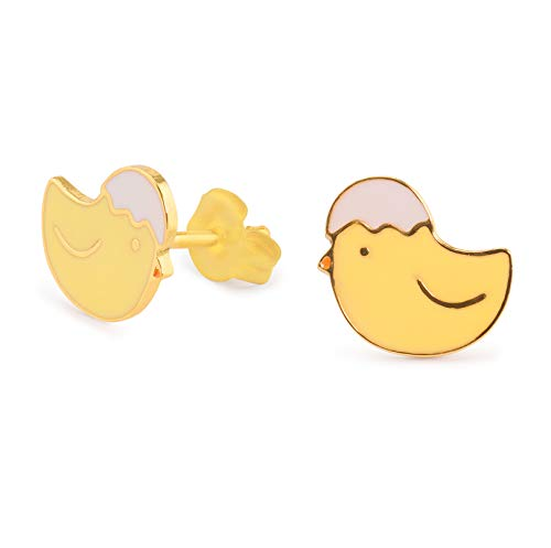 Monkimau Damen Ohrringe Küken Ei Kopf Ohrstecker aus Messing Gold plattiert handbemalt
