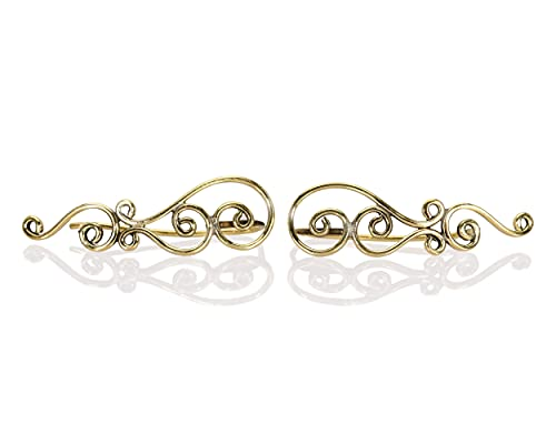 LILYOM offical Ear Climber, Brass Crawler Earrings, A Pair of Celtic Knots Ear Crawlers, Sweep Earrings, Tribal Bohemian Ethnic Fashion Jewelry for Women, Handmade by Lilyom. gold