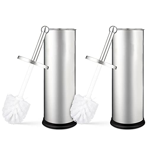 Home Intuition Modern Toilet Brush & Holder Set, Bathroom Bowl Scrubber with Holder, 2 Pack