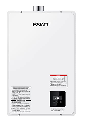 Tankless Water Heater Natrual Gas, , FOGATTI On Demand Instant Hot Water Heater for 3-4 Persons Home Use, 3.7 GPM, 145,000 BTU, 120V AC, White