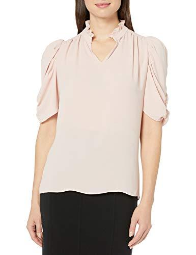 Lark & Ro Half Sleeve Ruffle Neck Woven Blouse Dress-Shirts, Hyperfast 2.0 El K-Bambini, US S (EU S - M)