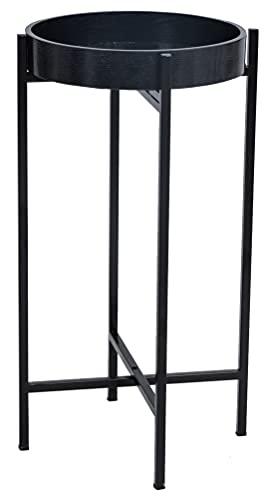 HAWOO Mesas laterales redondas, mesa de metal pequeña con base en cruz, mesa de café para exteriores e interiores, para sala de estar, cama, 60 cm de alto x 33 cm de profundidad, color negro