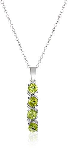 Sterling Silver Genuine Peridot Pendant Necklace, 18'