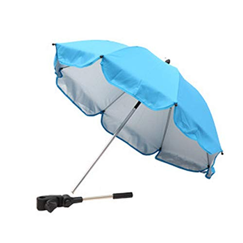 Ansodo Cochecito de bebé desmontable paraguas sombrilla brazo flexible abierto manual (azul claro)