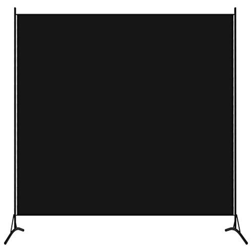 UnfadeMemory Biombo Divisor para Crear Privacidad,Biombo de Pie,Divisor para Habitación,Estructura de Hierro,Tela (1 Panel,175x180cm, Negro)