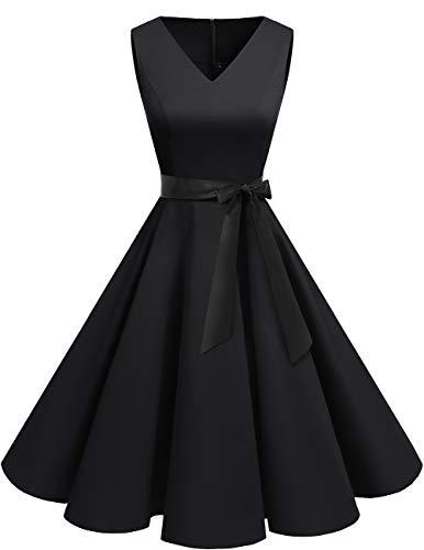 bridesmay 1950er V-Ausschnitt Kleid Vintage Cocktailkleid Rockabilly Retro Schwingen Kleid Faltenrock Black L