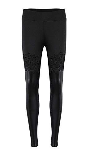 Legging - broek - legging - fuseaux - vrouw - kant - kunstleer - mode - zwarte kleur - steampunk - hoge taille - gothic