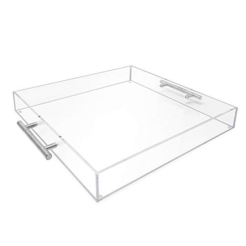 Isaac Jacobs Clear Acrylic Serving Tray 15x15 withSilver MetalHandles Spill-Proof Stackable Organizer Food Drinks Server IndoorsOutdoors Lucite Storage 15x15 Clear with Silver Handle