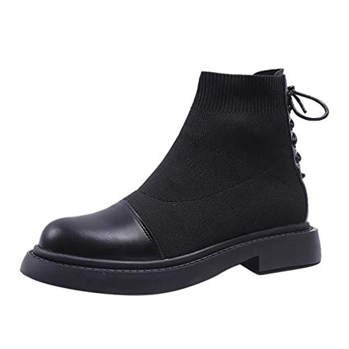 Yowablo Damen Boots Mode kleine Stiefeletten Herbst Socken elastische Kurze Flache Stiefel (40 EU,Schwarz)