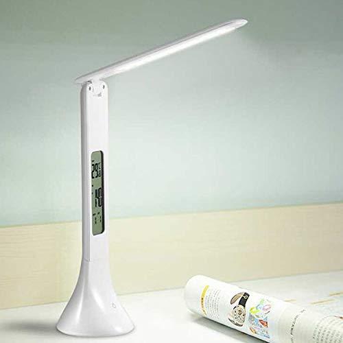 Zaklamp 3.5W Opvouwbare Dimbare Calendar Temperatuur wekker LED Tafellamp Night Light Reading Eye-Care Desk Lamp (Color : White)