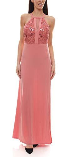 Melrose Abiball-Kleid mit Pailletten besetztes Damen Maxi-Kleid mit Neckholder Abend-Kleid Ball-Kleid Rosé, Größe:36