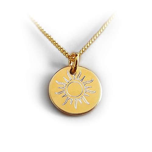 Vergoldete Kette, Sonne, Kleiner Runder Anhänger mit Gravur, Initialen, Geschenk Idee