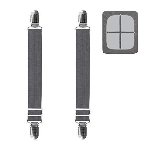 EasyGoing 2Pcs Adjustable Sofa Slipcover Straps Clips40inch, Elastic Bed Mattress Sheet Fasteners Holder and Suspenders Grippers to Hold Sheet Mattress Cover Couch Cushion Table Cloth Gray